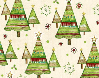 Believe in the Season - Per Yd - Clothworks by Sue Zipkin - Trees on Ecru