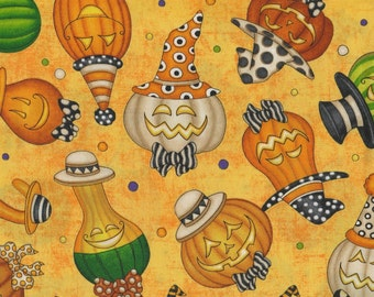 Creepy Hollow -  Per Yd - QT - Halloween Pumpkins on Orange