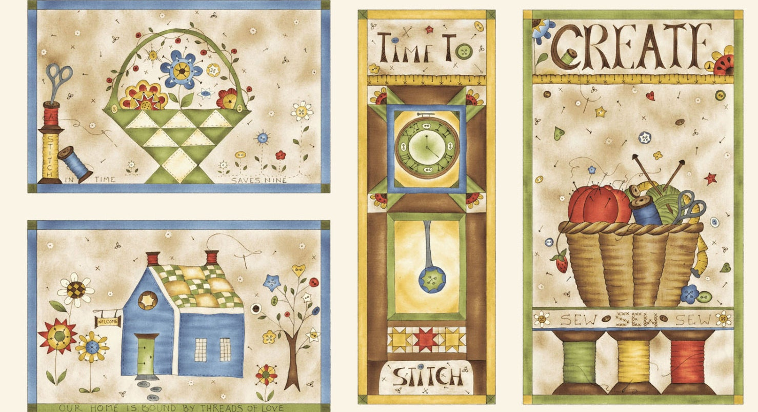 Time to Stitch Panel by Red Rooster Jackie Patton | Etsy