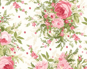 Heather- Per Yard  - Maywood Studio - Floral on White  - MAS8390-E