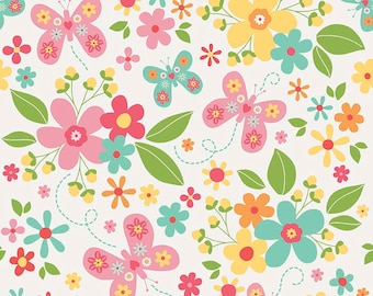 Garden Girl - FLANNEL - Per Yd - Riley Blake - by Zoe Pearn - Main print on white flannel - butterflies and flowers - C