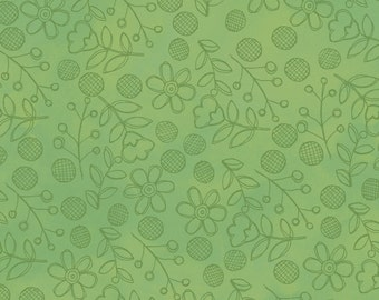 Daisy Dance Green - Per Yd - Clothworks - Sue Zipkin