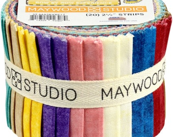 "Row by Row Experience - 2017 - Jr Jelly Roll (20) 2.5"" Strips - Maywood Studio - Great mixers!! - Rainbow colors!"