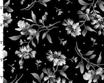 Gradiance Collection - Black and White or Fifty Shades of the Same - Per Yd - Maywood Studio - Floral on Blk