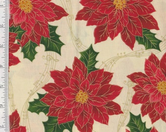 Sounds of the Season - Per Yd - Quilting Treasures - Poinsettia on Crm