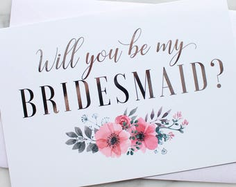 Will You Be My Bridesmaid Cards // Maid of Honor Card // Flower Girl Card // Bridesmaid Proposal Card // Silver Foil // Gold Foil