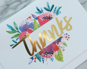 Gold Foil Thank You Card // Thank You Note // Greeting Card // Gift Card // Watercolor Flower