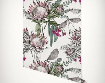 Protea, Eucalyptus & Dragonfly Wallpaper • Luxury Botanical Eco Printed Paste-the-Wall Paper • Native Floral Mural Hand Drawn Feature Wall