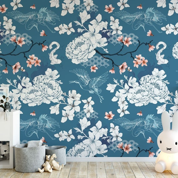 Floral Chinoiserie Wallpaper Blue Oriental Botanical Blossom Etsy