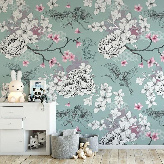 Floral Chinoiserie Wallpaper Duck Egg Oriental Botanical Etsy