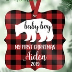 Babys First Christmas Ornament Boy Personalized Baby Shower Gift for Baby Boy Ornament Bear Year