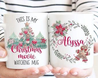 This Is My Christmas Movie Watching Mug, Personalized Christmas Mug, Holiday Mug, Gingerbread Man Mug, Christmas Tea Mug