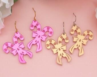 Christmas Earrings Candy Cane, Christmas Acrylic Dangles, Festive Jewelry, Holiday Earrings, Holiday Statement Earrings