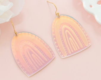 Rainbow Earrings Dangles Holographic, Bold Earrings, Fun Jewelry, Gifts For Her, Summer Earrings, Whimsical Jewelry