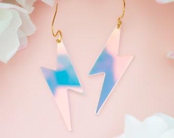 Lightning Bolt Earrings, Holographic Earrings, Retro Earrings, Acrylic Dangles, Gift For Friend, Bold Earrings, Fun Jewelry