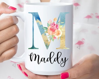 Personalized Coffee Mug, Personalized Name Coffee Cup, Initial Mug, Gold Initial Mug, Gift for Friend, Birthday Gift