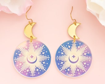 Celestial Earrings, Moon And Star Earrings, Iridescent Dangles, Witchy Earrings, Gifts For Her, Acrylic Jewelry For Women
