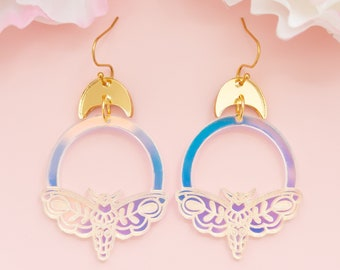 Moth Earrings, Celestial Jewelry, Iridescent Dangles, Witchy Earrings, Gifts For Her, Acrylic Jewelry For Women