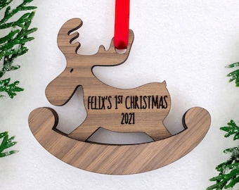 First Christmas Ornament Boy Personalized, Moose Ornament, Woodland Christmas Ornament, Engraved Ornament, Baby Keepsake
