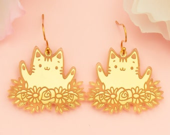 Cat Earrings Dangles, Gifts For Her, Acrylic Jewelry For Women, Cat Mom