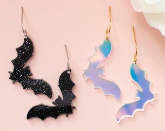 Bat Earrings Glitter Dangles, Halloween Earrings, Holographic Jewelry, Spooky Earrings Acrylic Dangles