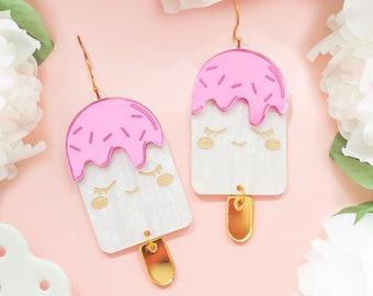 Ice Cream Earrings, Acrylic Dangles, Bold Earrings, Fun Jewelry, Gifts For Her, Summer Earrings, Kawaii Jewelry