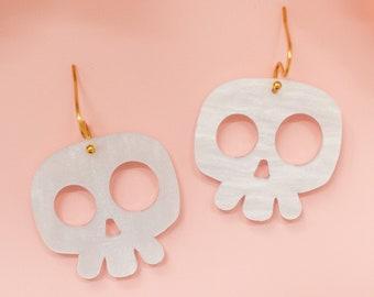 Skull Earrings Acrylic Dangles, Halloween Earrings
