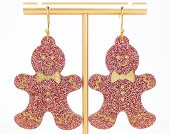 Gingerbread Man Earrings, Rose Gold Christmas Acrylic Dangles, Festive Jewelry, Holiday Statement Earrings, Funny Christmas Earrings