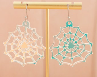 Spider Web Earrings Dangle, Halloween Earrings, Holographic Jewelry, Acrylic Dangles,