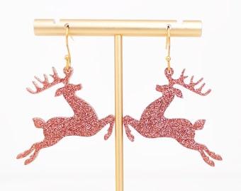 Christmas Reindeer Earrings, Acrylic Dangles, Festive Jewelry, Rose Gold Holiday Earrings, Holiday Statement Earrings