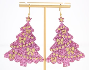 Christmas Tree Earrings, Acrylic Dangles, Festive Jewelry, Pink Christmas Tree, Holiday Earrings, Holiday Statement Earrings