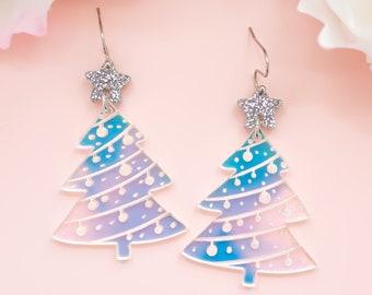 Christmas Tree Earrings, Acrylic Dangles, Festive Jewelry, Holographic Christmas Tree, Holiday Earrings, Holiday Statement Earrings