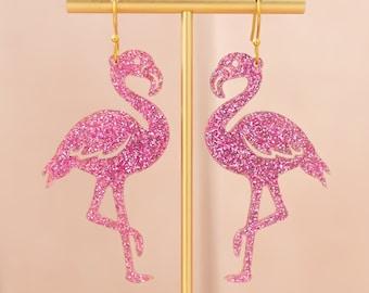 Flamingo Earrings Pink, Flamingo Gifts, Dangle Acrylic Earrings, Gift For Friend, Big Bold Earrings, Fun Jewelry, Gifts For Her