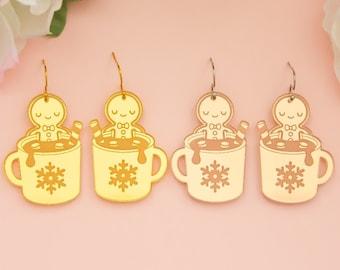 Gingerbread Man Earrings, Christmas Acrylic Dangles, Festive Jewelry, Holiday Earrings, Holiday Statement Earrings