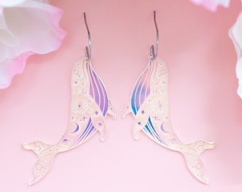 Whale Earrings, Celestial Jewelry, Iridescent Dangles, Witchy Earrings, Gifts For Her, Acrylic Jewelry For Women, Cat Mom