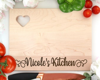 Custom Cutting Board, Engraved Cutting Board Name's Kitchen, Gift For Cook Or Baker, Gift for Mom, Cutting Board Heart, New Homeowner Gift