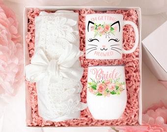 Bride to Be Bridal Engagement Gift Basket Present, I'm Getting Meowied Mug, Bride Gift, Bridal Gift Basket, Future Mrs Gift, Bride Box,