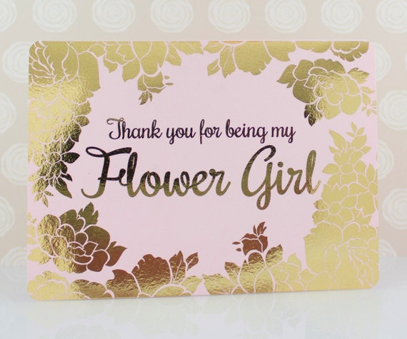 Flower Girl Thank You Card Gold Foil Maid Of Honor Thank You Etsy