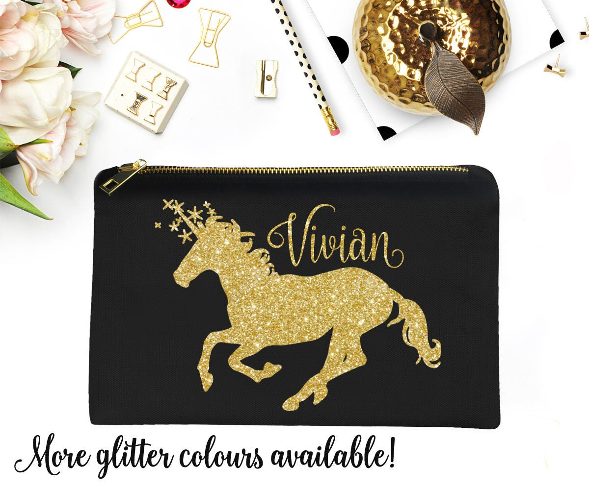 11f100a672d0 Unicorn Make-Up Bag Gold Glitter Personalized Name Cosmetic Lined Pouch  Christmas Gift Stocking Stuffer Unicorn Lover Birthday
