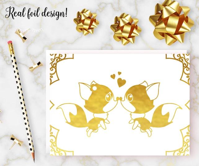 Foxes Valentine S Day Card Gold Foil Anniversary Card Boyfriend