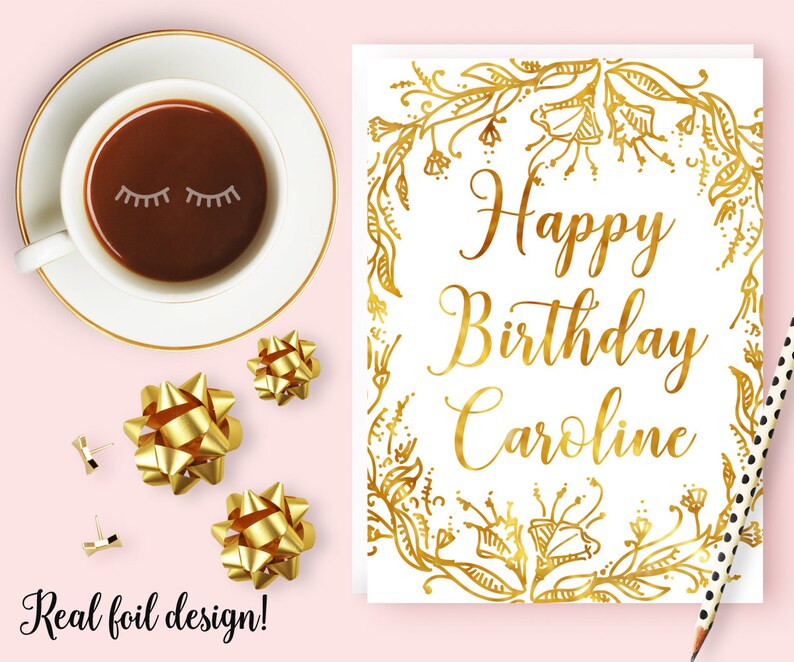 Mom Personalized Birthday Card Gold Foil Floral For Best Friend Sister Or Girlfriend