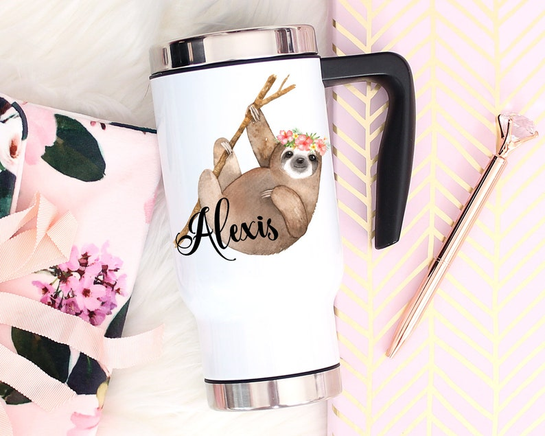 Sloth Gifts Travel Mug Personalized With Handle & Lid image 0