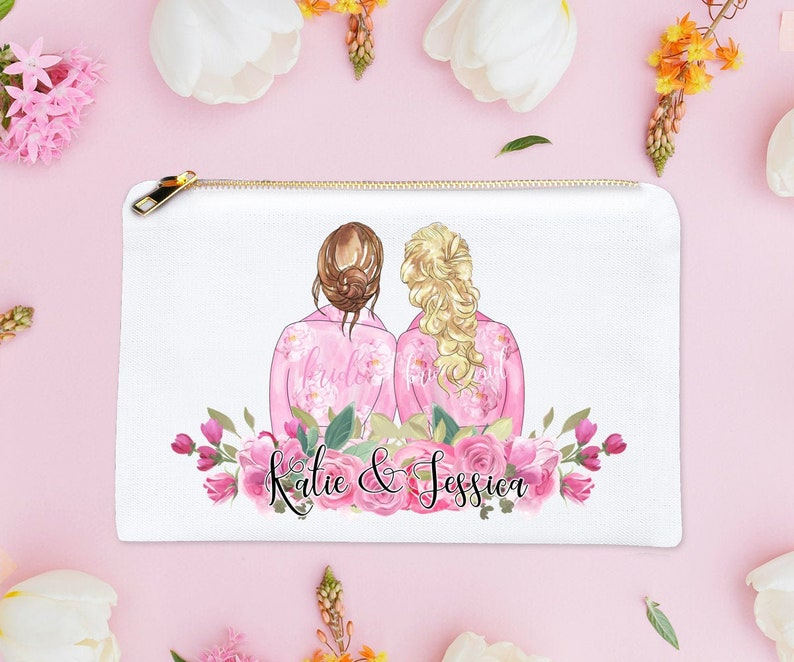 Bridesmaid Gifts Personalized Cosmetic Bag Custom Bridal image 0