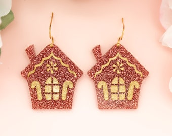 Gingerbread House Earrings, Christmas Acrylic Dangles, Festive Jewelry, Holiday Earrings, Holiday Statement Earrings