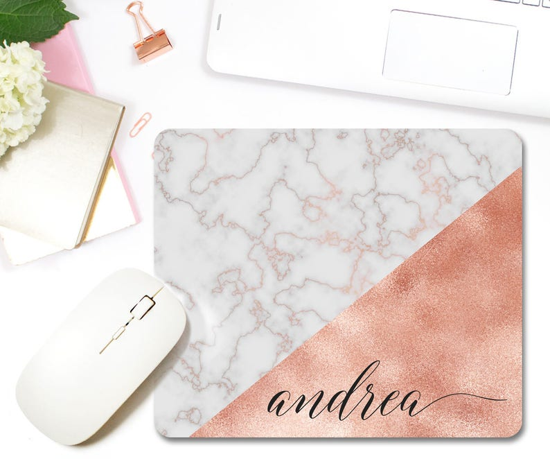 Marble Mouse Pad Rose Gold Mouse Pad Personalized Mouse Pad image 1