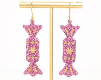 Christmas Earrings, Candy Earrings, Acrylic Dangles, Festive Jewelry, Pink Christmas Tree, Holiday Earrings, Holiday Statement Earrings