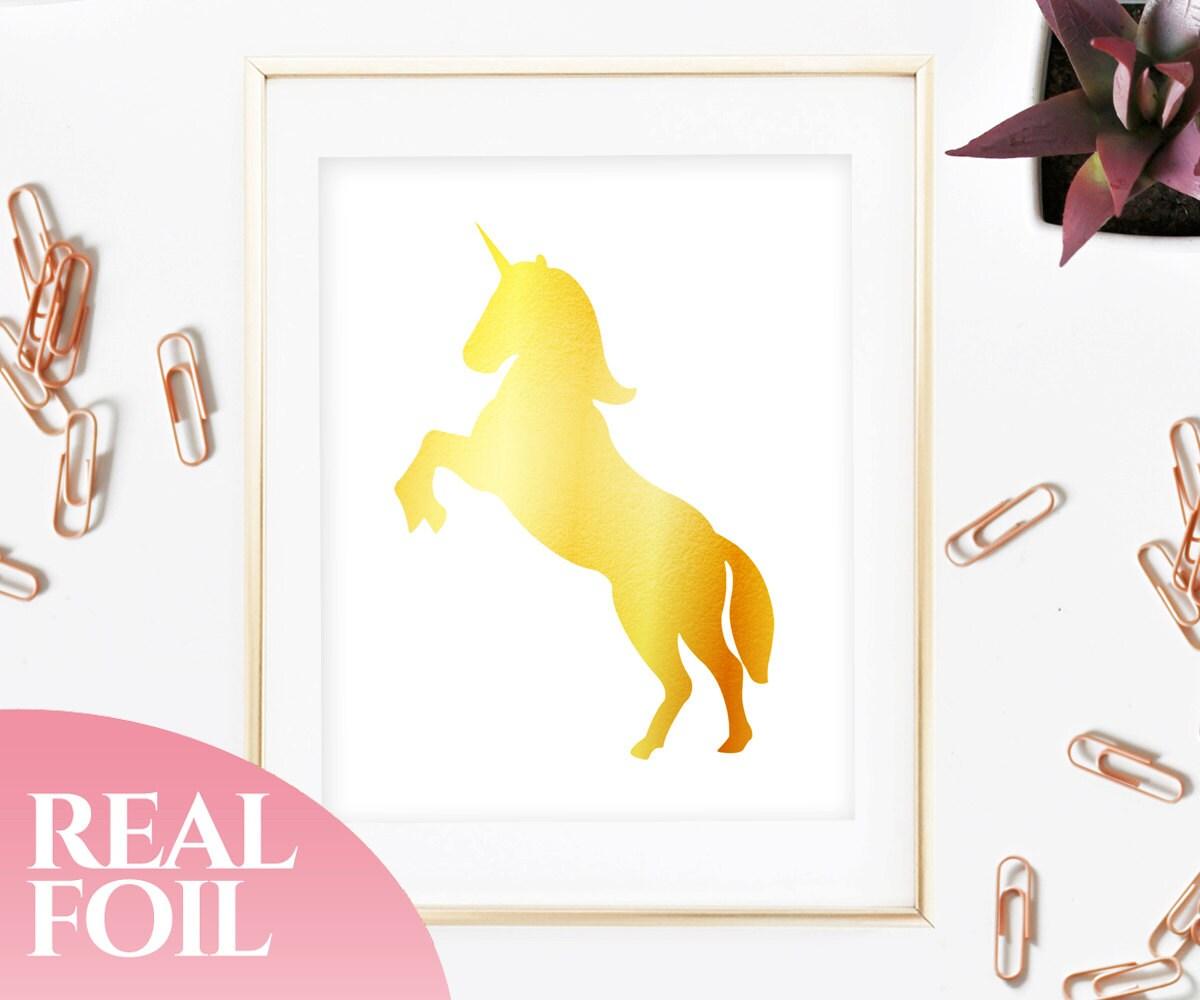 Unicorn Gold Foil Print Real Genuine Home Decor House | Etsy