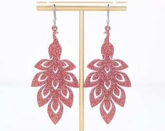 Rose Gold Peacock Earrings, Peacock Gifts, Dangle Acrylic Earrings, Gift For Friend, Big Bold Earrings, Fun Jewelry, Gifts For Her