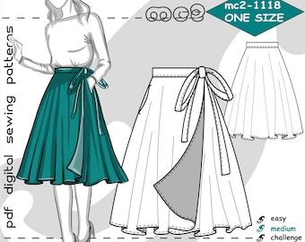 One-size fits XS-XL/ Wrap Circle Skirt/ Digital Sewing pdf-pattern for women >mc2-patterns< mc2-1118