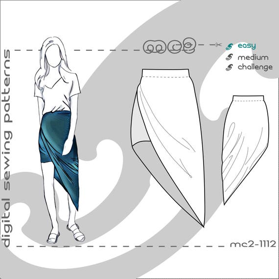 Uk 6 20 Usa 2 16 Jersey Twisted High Low Skirt Digital Etsy